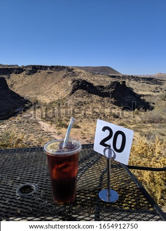Number 20 order with iced tea drink and beautiful Rocky Utah view