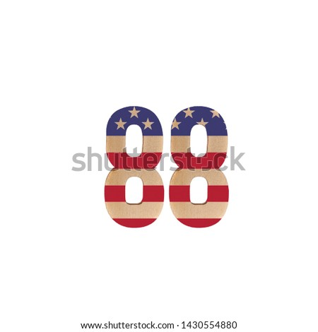 Number 88 painted or screen printed with the flag of the United States of America on a white isolated background