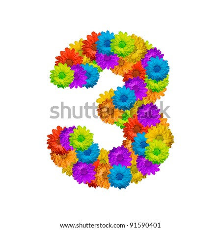 Number 3, Part of a flower alphabet - stock photo
