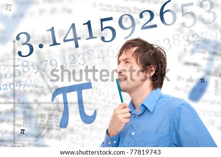 Number Pi. Portrait of young scientist calculating Pi number. - stock photo