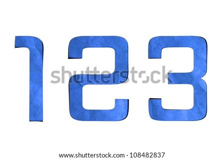 number recycled paper craft stick on background (1 2 3)