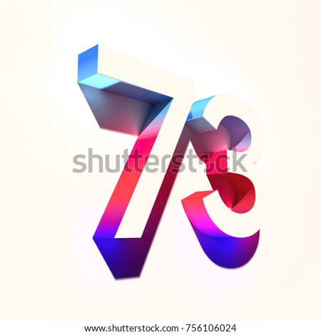 Number seventy three 73 of blue and red color with colorful abstract gradient shadow. 3d render of medium  font number 73 isolated on light background #756106024