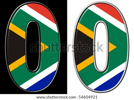 Number 0 showing South Africa flag