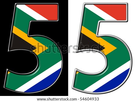 Number 4 showing South Africa flag