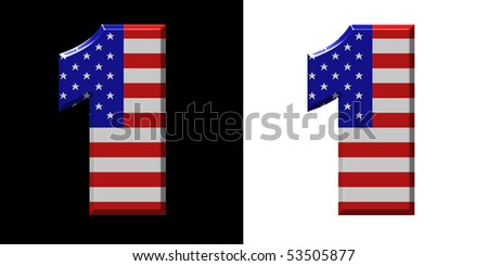 Number 1 showing USA flag - stock photo