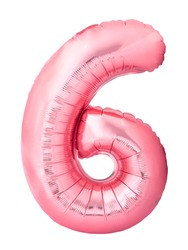 Number 6 six made of rose gold inflatable balloon isolated on white background. Pink helium balloon six 6 number. Discount and sale, birthday and education concept