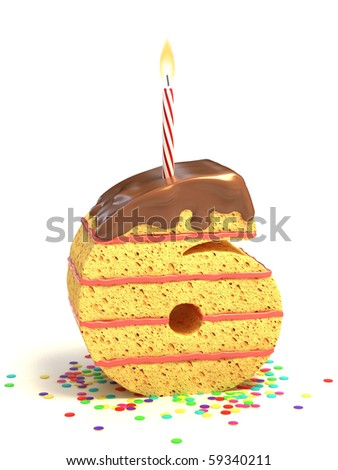 number six shaped chocolate birthday cake with lit candle and confetti