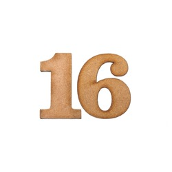 Number sixteen, 16 - Piece of wood isolated on white background