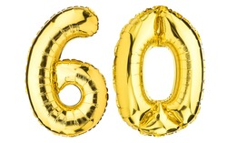 Number Sixty 60 balloons. Helium balloon. 60 years. Golden Yellow foil color. Birthday Party, greeting card, Sale, Advertising, Anniversary. High resolution photo. Isolated on white background.