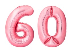 Number 60 sixty made of rose gold inflatable balloons isolated on white background. Pink helium balloons forming 60 sixty number. Discount and sale or birthday concept