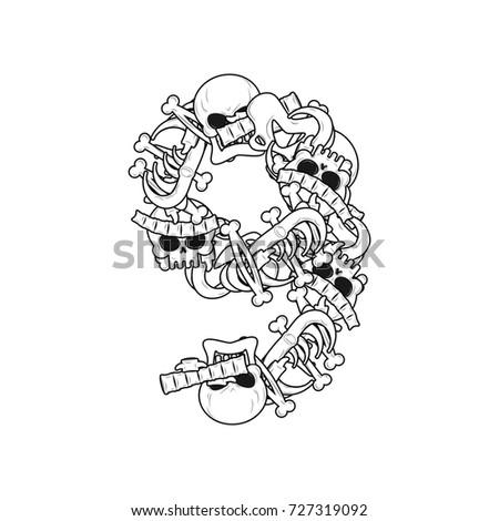 Number 9 Skeleton Bones Font Nine Anatomy Of An Alphabet Symbol