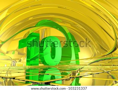 number ten in abstract mirror space - 3d illustration