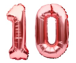Number 10 ten made of rose golden inflatable balloons isolated on white. Helium balloons, pink foil numbers. Party decoration, anniversary sign for holidays, celebration, birthday, carnival
