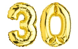 Number Thirty 30 balloons. Helium balloon. 30 years. Golden Yellow foil color. Party, Birthday greeting card, Sale, Advertising, Anniversary. High resolution photo. Isolated on white background.