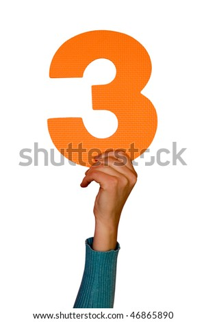 number three in hand,isolated on white background