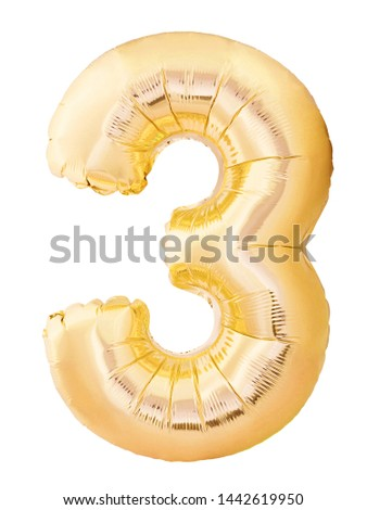 Number 3 three made of golden inflatable balloon isolated on white background. Helium balloon three 3 number. Discount and sale or birthday concept #1442619950