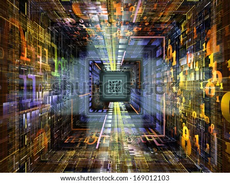 Number Tunnel series. Backdrop of CPU chip, colorful numbers and fractal elements in perspective on the subject of computers, mathematics, science and education