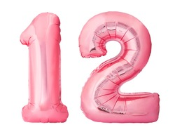 Number 12 twelve made of rose gold inflatable balloons isolated on white background. Pink helium balloons forming 12 twelve number