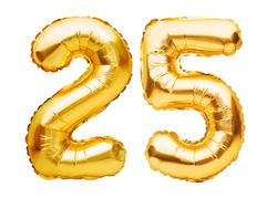 Number 25 twenty five made of golden inflatable balloons isolated on white. Helium balloons, gold foil numbers. Party decoration, anniversary sign for holidays, celebration, birthday, carnival