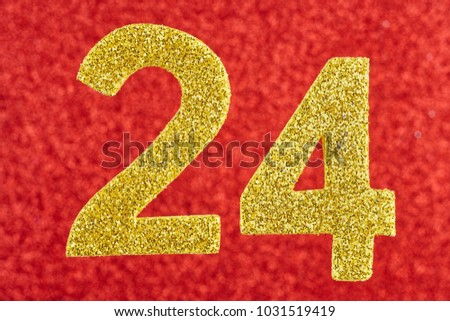 Number twenty-four golden color over a red background. Anniversary. Horizontal #1031519419