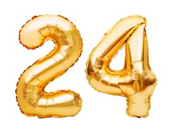 Number 24 twenty four made of golden inflatable balloons isolated on white. Helium balloons, gold foil numbers. Party decoration, anniversary sign for holidays, celebration, birthday, carnival