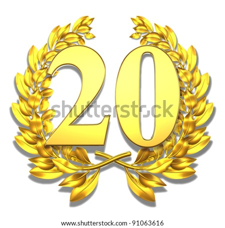 Number twenty Golden laurel wreath with the number twenty inside