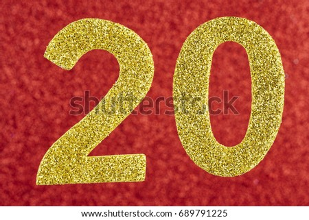 Number twenty golden over a red background. Anniversary. Horizontal #689791225