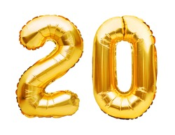 Number 20 twenty made of golden inflatable balloons isolated on white. Helium balloons, gold foil numbers. Party decoration, anniversary sign for holidays, celebration, birthday, carnival