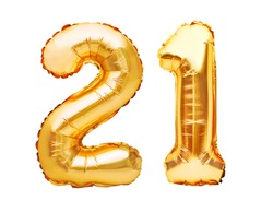 Number 21 twenty one made of golden inflatable balloons isolated on white. Helium balloons, gold foil numbers. Party decoration, anniversary sign for holidays, celebration, birthday, carnival