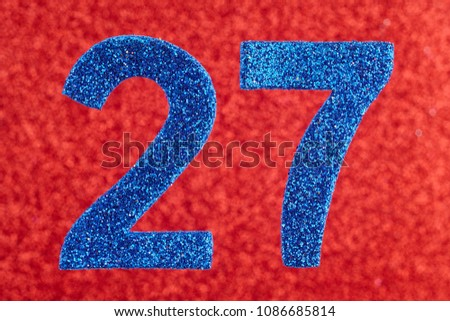 Number twenty-seven blue color over a red background. Anniversary. Horizontal #1086685814