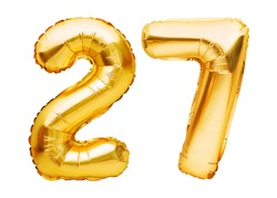 Number 27 twenty seven made of golden inflatable balloons isolated on white. Helium balloons, gold foil numbers. Party decoration, anniversary sign for holidays, celebration, birthday, carnival