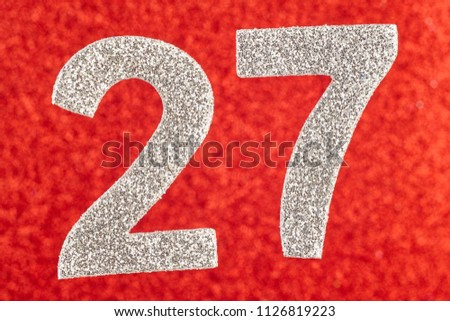 Number twenty-seven silver color over a red background. Anniversary. Horizontal #1126819223