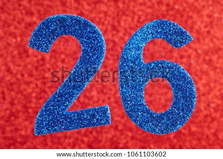 Number twenty-six blue color over a red background. Anniversary. Horizontal #1061103602