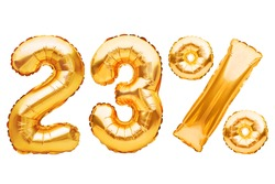 Number 23 twenty three and percent sign made of golden helium inflatable balloons isolated on white. Gold foil numbers for web and advertising banners, posters, flyers. Discounts, sale, Black Friday