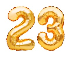 Number 23 twenty three made of golden inflatable balloons isolated on white. Helium balloons, gold foil numbers. Party decoration, anniversary sign for holidays, celebration, birthday, carnival