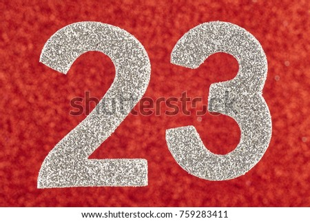 Number twenty-three silver over a red background. Anniversary. Horizontal #759283411