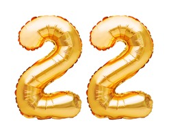 Number 22 twenty two made of golden inflatable balloons isolated on white. Helium balloons, gold foil numbers. Party decoration, anniversary sign for holidays, celebration, birthday, carnival