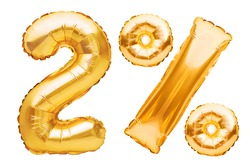 Number 2 two and percent sign made of golden helium inflatable balloons isolated on white. Gold foil numbers for use on web and advertising banners, posters, flyers. Discounts Black Friday concept