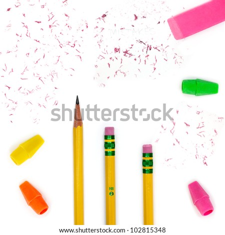 Number two pencils, erasers, pencil top erasers and eraser bits