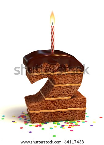 number two shaped chocolate birthday cake with lit candle and confetti