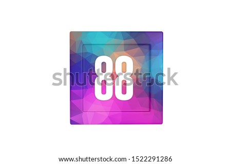 Number 88 with colorful polygon pattern isolated on white color background, 3d illustration.