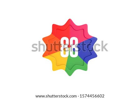 Number 88 with colorful star isolated on white background, 3d illustration.