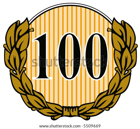 Number 100 with laurel leaves - stock photo