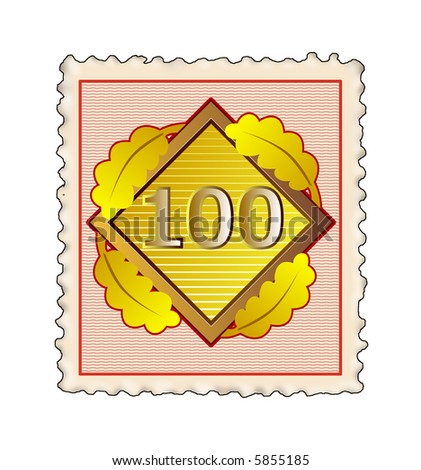 Number 100 with laurel leaves stamp