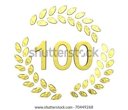 number 100 with laurel wreath