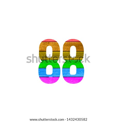 Number 88 with Rainbow Gay Flag Made in Wood on white Isolated Background
