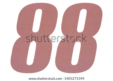 Number 88 with terracotta colored fabric texture on white background