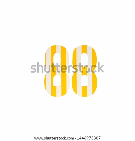 Number 88 with Yellow and White Stripes on isolated background