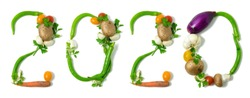 Number 2020 written with vegetables, as a metaphor or concept for healthy food, living, diet, recipe. Isolated on white background. Happy new year. End of the year resolution