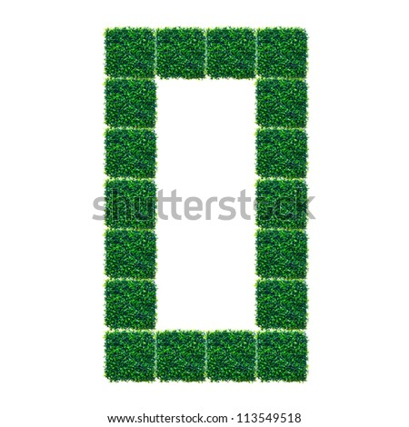 Number Zero made from Artificial Grass on white background.
